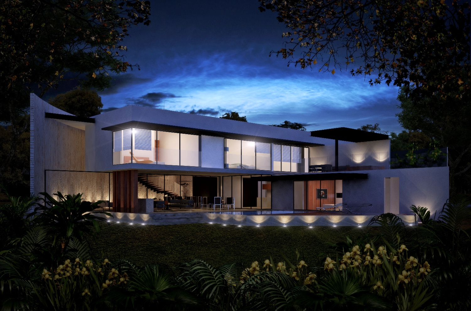 Panoramic night rear facade